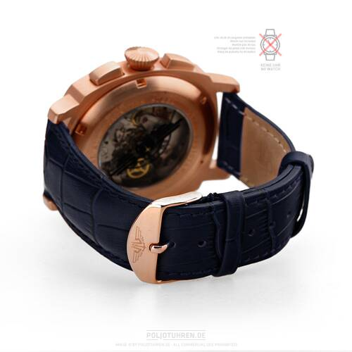 Bracelet Montre or Rose 20mm Poli Fermoir, Bleu Sombre Cuir Croco or Rouge