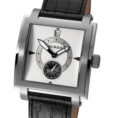 Watch Mechanical Buran Square Poljot Hand Wound Leather Band 2614.2/1065509