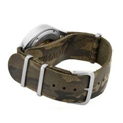 Watchstrap 20mm leather PILOT Camouflage silver Thornclasp