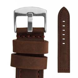 Watchband 22 Leather Dark Brown - Buckle Solid - Pilots...
