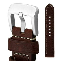 Watchband 24 Leather Dark Brown - Buckle Very Solid -...