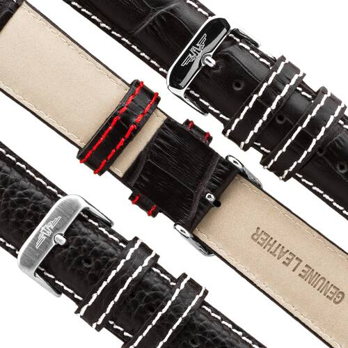 Pilot Brands Leather Band 22 Watchband - White Or Red Seam Pin Buckle Watch