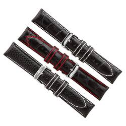 Pilot Brands Leather Band 22 Watchband - White Or Red...