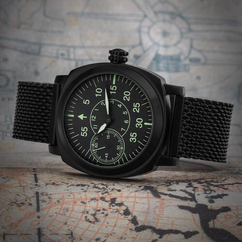 Analog Aviator Watch B-Watch Military Watch Pam Hand Wound Molnija 3603 Black