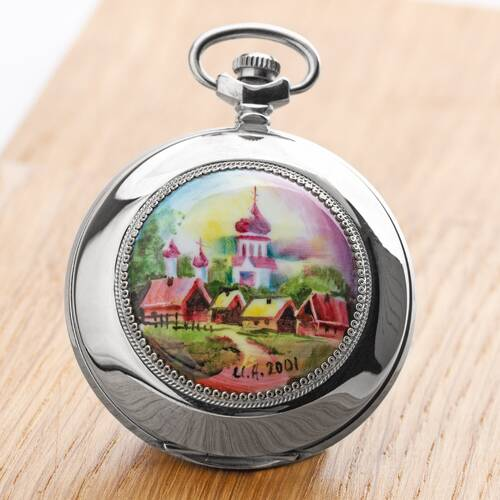 Pocket Watch Village Motif Handpainted Each A Unique Russian Watch Molnija 3602