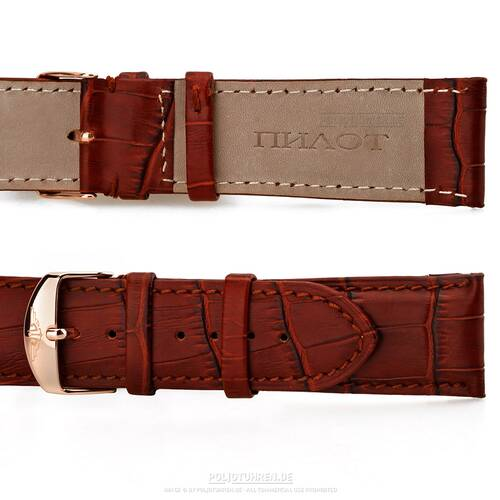 Wrist Watch Band Rose Gold 0 15/16in Polished Lock, Red Brown Leather Croco