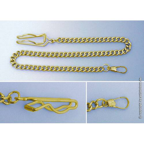 Pocket Watch Chain Gold Carabiner And Clamp New