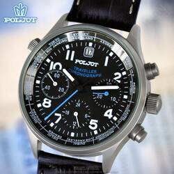 Mens Watch Poljot Traveller Mechanical Chronograph 31681...